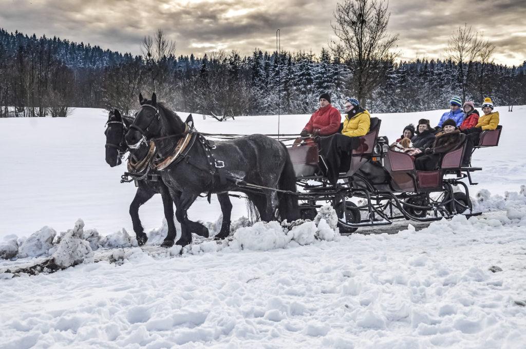 Kutschfahrt Winterurlaub mit Kindern Aldiana Salzkammergut